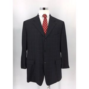 Canali Windowpanes Men's Blazer 100% Wool Size 56R